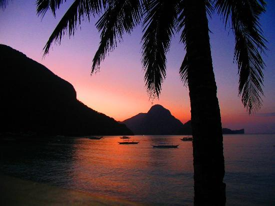 Palawan Island, Philippines: Susnet as seen from El Nido