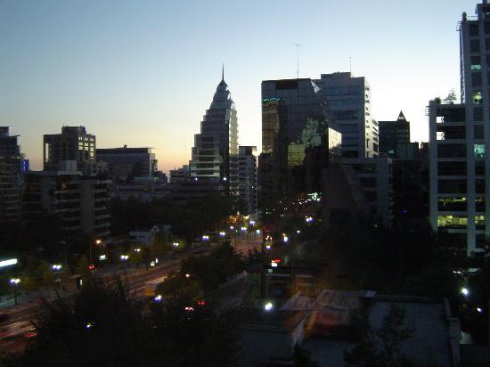 The Ritz-Carlton, Santiago: View from our room, sun setting over the city