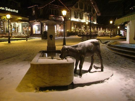 Gstaad, Swiss: A statue in the town centre.