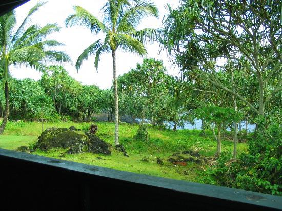 Waianapanapa State Park Cabins: View from the deck - sacrifice luxury for the incredible setting!