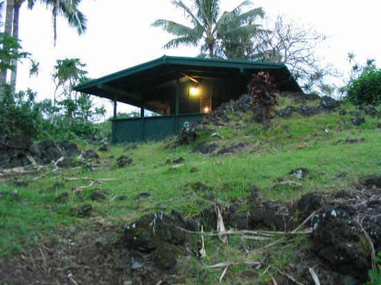 Waianapanapa State Park Cabins: Looking up toward cabin from ocean side of property