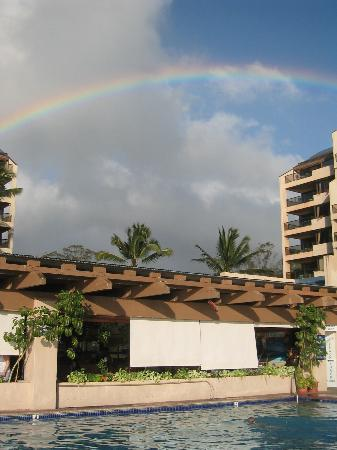 Sands of Kahana: facing the pool and restaurant