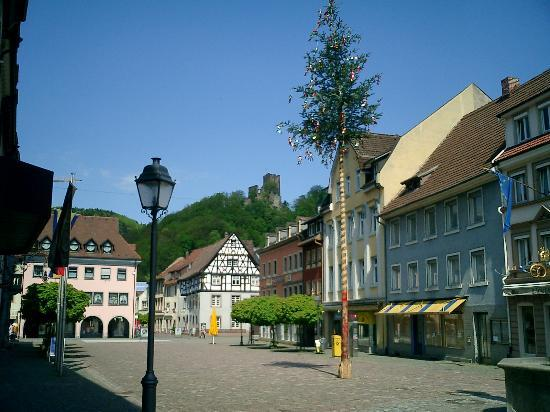 Waldkirch's Marktplatz (West View with Kastelburg in the Background)