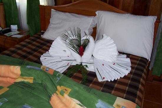 Arenal Paraiso Hotel Resort & Spa: Maid folded towels into Swans, Nice!