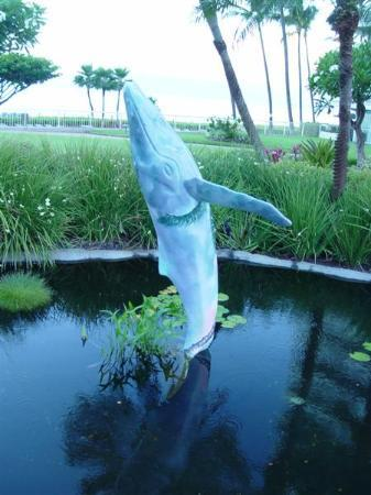 Aston at The Whaler on Kaanapali Beach: Bronze whale statue in koi pond