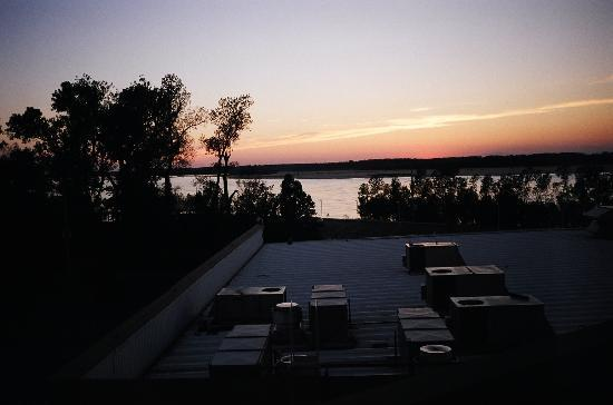 Tunica, MS: View of Mississippi River from Room 501 during the early evening