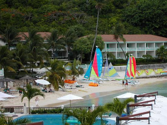 Blue Waters Antigua : Main Beech viewed from Wedding Gazebo
