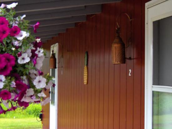 West Brookfield, MA: Copper lanterns and flowers.