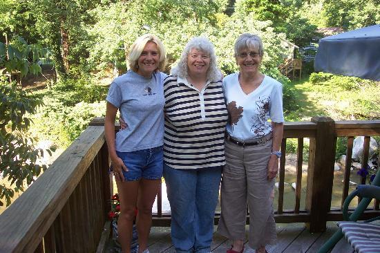 River House at Chimney Rock: Sharon( owner ) with us on the deck.