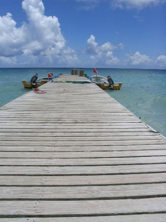 Iberostar Hacienda Dominicus: The pier for parasailing and diving stretching into the sea.