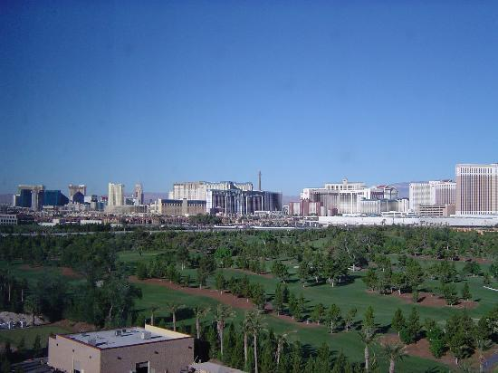 Renaissance Las Vegas Hotel: South Strip with Monorail along golf course view from room 1108