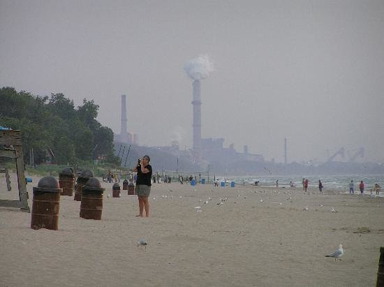 Porter, IN: View of Burns Harbor Steel Mill from Dunes