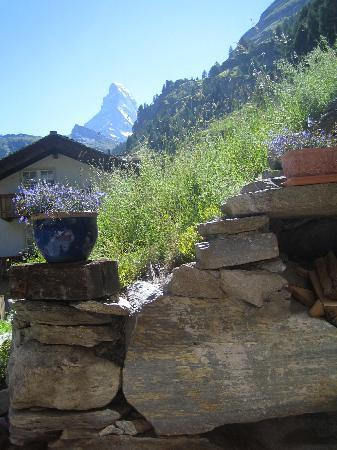 Coeur des Alpes : View from the patio where you can relax on comfy furniture and have a picnic like we did!