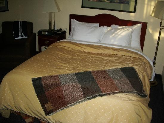 Larkspur Landing Pleasanton: Ah, comfy bed!   Take that, heavenly beds!