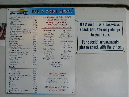 West Wind Club II: Picture of menu outside the snack bar area..give idea what you can order and how much