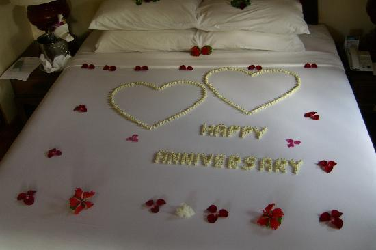 Poppies Samui: It was our anniversary, and they set us up with these flowers & champagne!