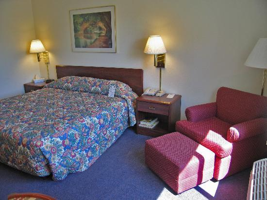Fairfield Inn Visalia Sequoia: King room #220 - comfortable bed and comfortable chair