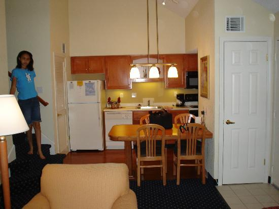 Residence Inn Binghamton: The kitchen area and stairs to the loft.