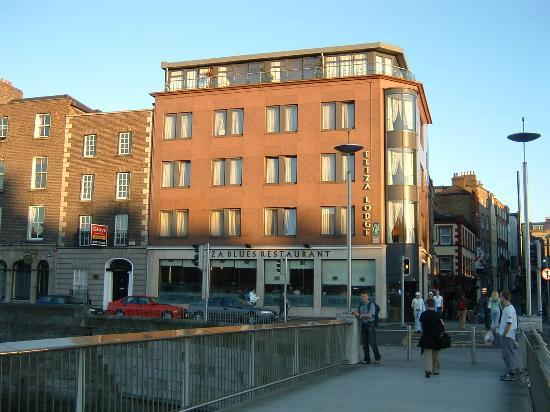 View of the Eliza Lodge from the Millenium Bridge - Temple Bar area behind hotel
