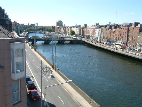 Eliza Lodge: View from our 4th Floor Corner Room of the River Liffey - Guinness Direction