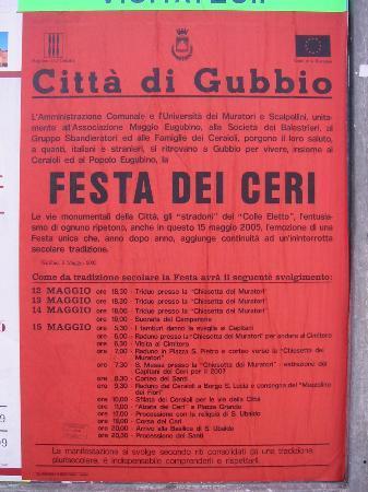 Hotel San Marco Gubbio: Poster of Festa dei Ceri events