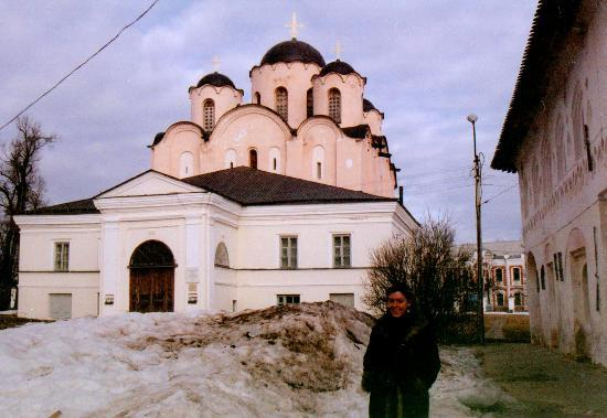 Yaroslav Courtyard (Dvorishche): My friend Jenny in front of the cathedral