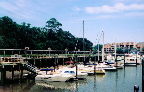 Disney's Hilton Head Island Resort: Boats docked by the edge of the resort's island