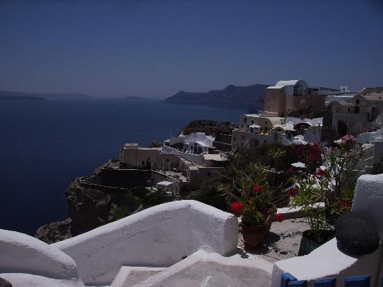 Santorini, Greece: view of Caldera from villa