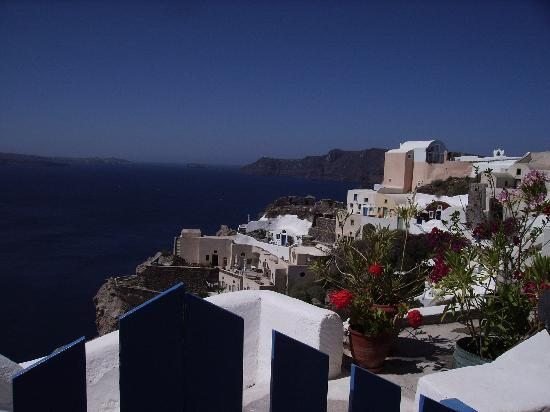 Santorini, Greece: View of Claldera from villa