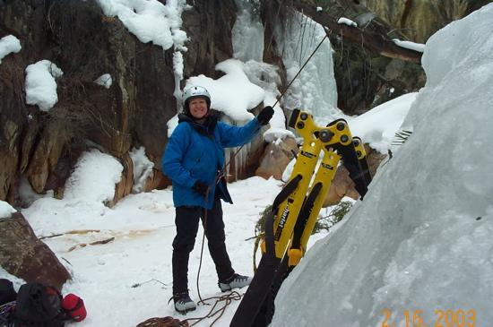 Ouray Ice Park: Belaying my husband