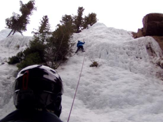Ouray Ice Park: Almost to the top of the last climb.