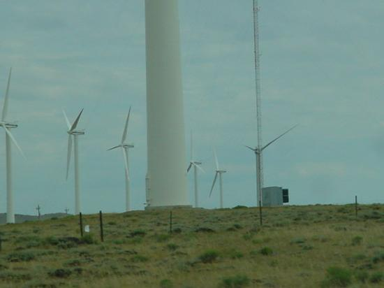 Medicine Bow, WY: Look at the size of The World's Largest Turbine next to normal sized turbines.