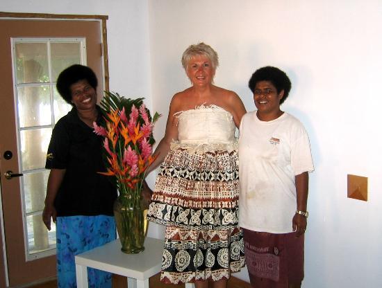 Kulu Bay Resort: in  my wedding dress of Tapa Cloth