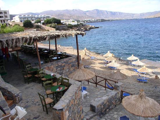 Aquila Elounda Village Hotel: The beach and the beach bar