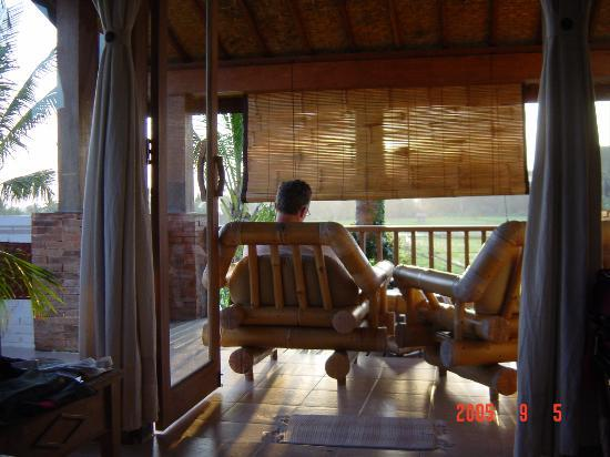 Tegal Sari: the verandah with view of the ricefields