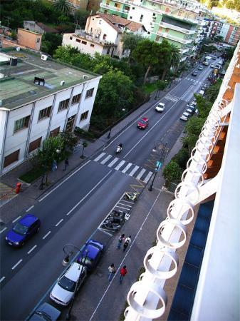 Cesare Augusto: View of the road from the balcony.