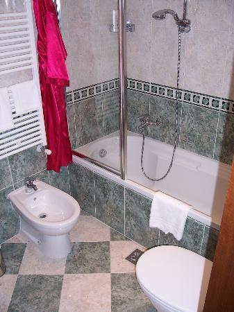 هوتل ألبونتيه موشينيجو: Bathroom of Room 5 (first floor with balcony over canal)