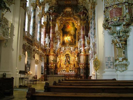 Tyskland: Inside view of Weiskirche