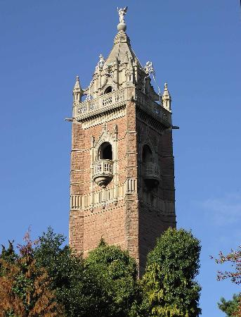 The Cabot Tower rises above the trees of Brandon Hill