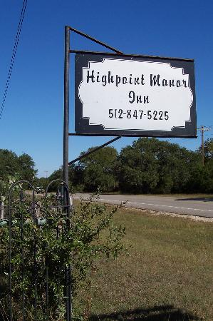 Highpoint Manor Inn: Just look for this sign!