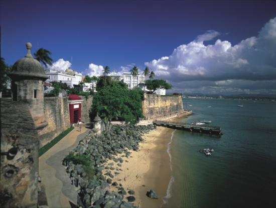 City Walls, San Juan Gate (red), La Fortaleza and Bay