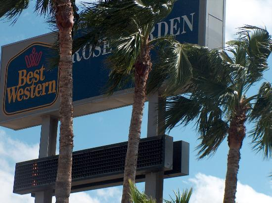 Texas Inn: Palms Gently Wave Around the Best Western Sign