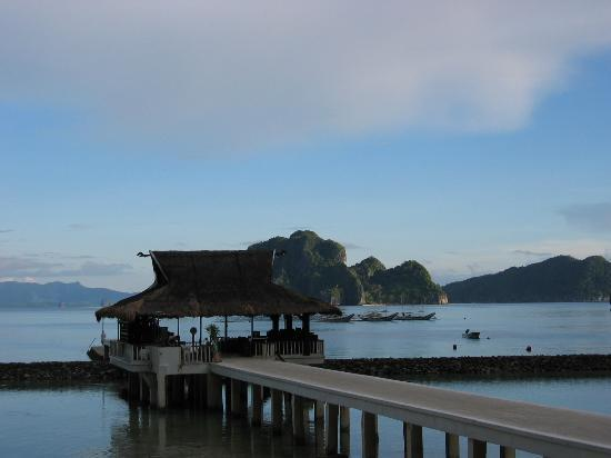 """El Nido Resorts Miniloc Island: dock at miniloc. NOTE: there are two """"home reefs"""", one inside the wall, the other beyond the..."""