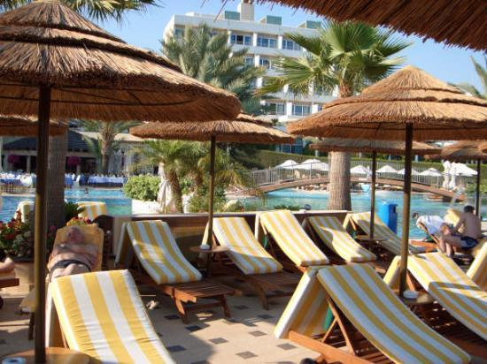 Four Seasons Hotel: deckchairs around the pool