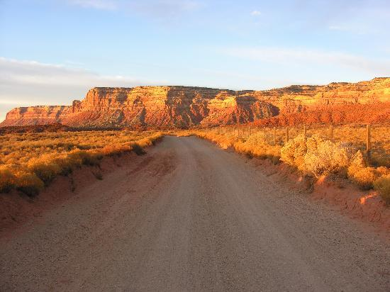 Mexican Hat, UT: Looking down the road