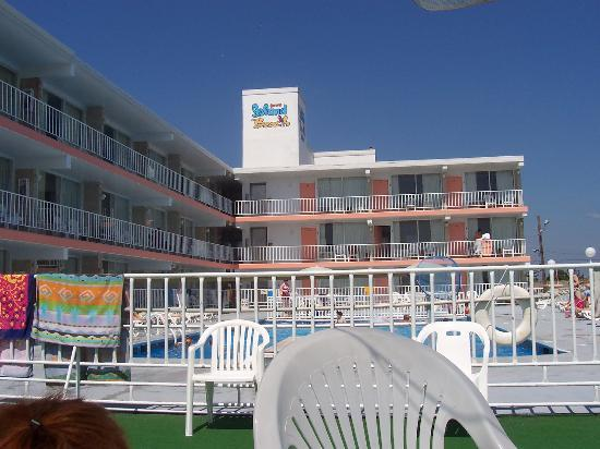 Olympic Beach Resort: View of hotel from the balcony.