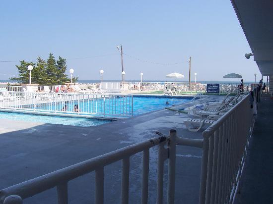 Olympic Beach Resort: View of pool from corner by elevator