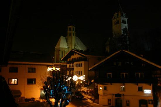 Tyrol Hotel: The night-time view from our room.