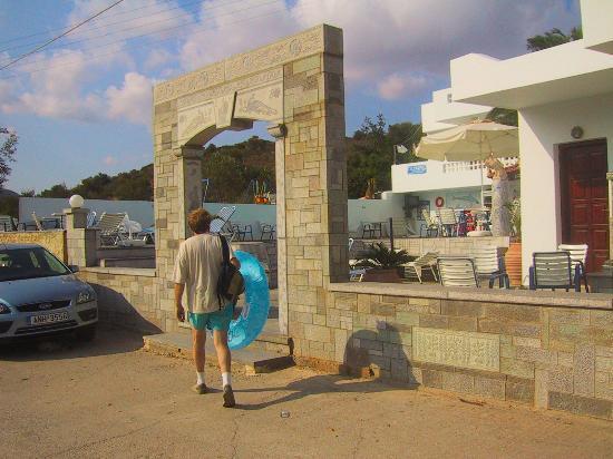 Entrance to Manos Apartments
