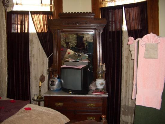 1884 Wildwood Bed and Breakfast Inn: the tv and dvd player in the King David room